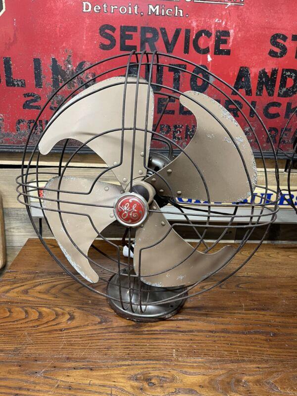 """Vintage General Electric Vortalex 16"""" Fm16v1 3-Speed Oscillates Works"""