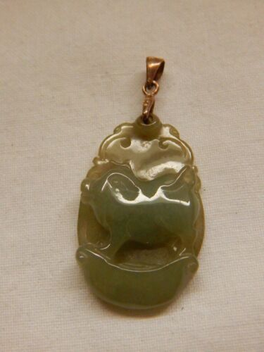 JADE CARVED PIG PENDANT WITH .925 STERLING SILVER BAIL