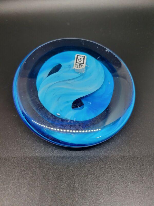"Mdina Glass Art Blue Swirl Paperweight 4"" Diameter"