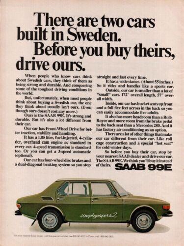 1971 SAAB 99E Green Car Vintage Color Photo Print Ad