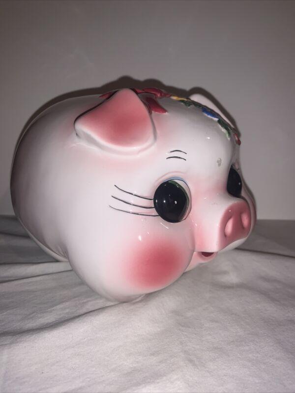 Vintage Ceramic Pig Piggy Bank Hand Painted Pink Flowers