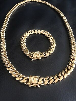 12mm Men Cuban Miami Link Bracelet & Chain Set  18k Gold Plated Stainless Steel