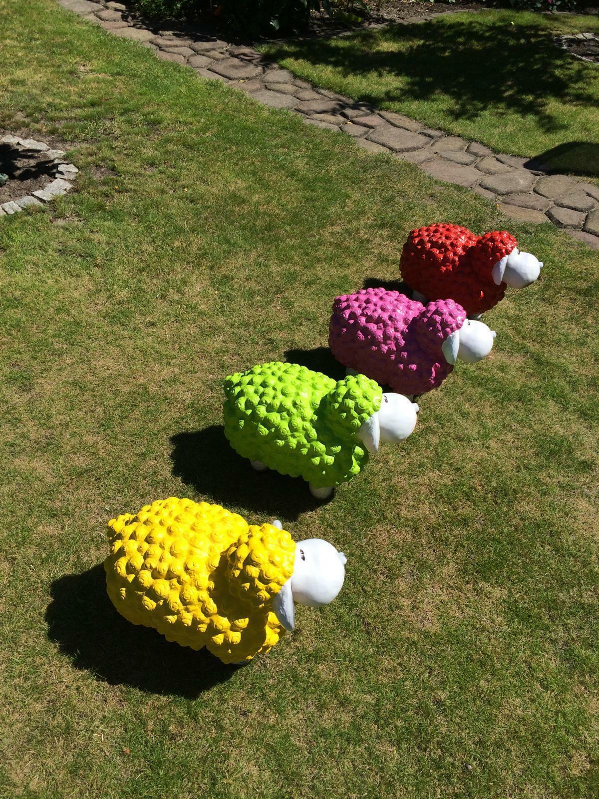 Schaf Schafe Gartendekoration Dekoschaf Witzige Neon Tierfiguren Gartenfigur