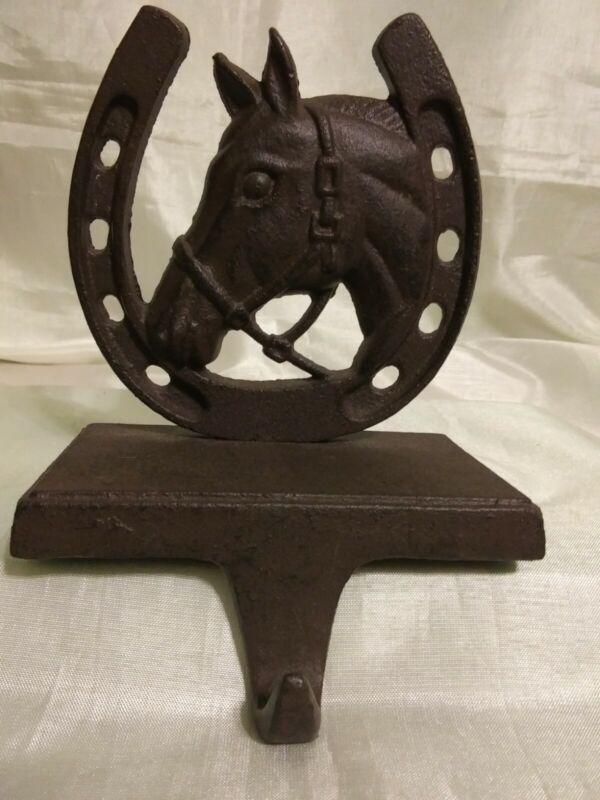 Rusic Cast Iron Horse And Horseshoe Single Hook Hanger
