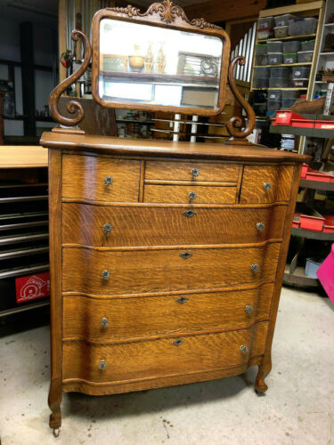 Oak Large Hiboy Dresser w/ Beveled Mirror
