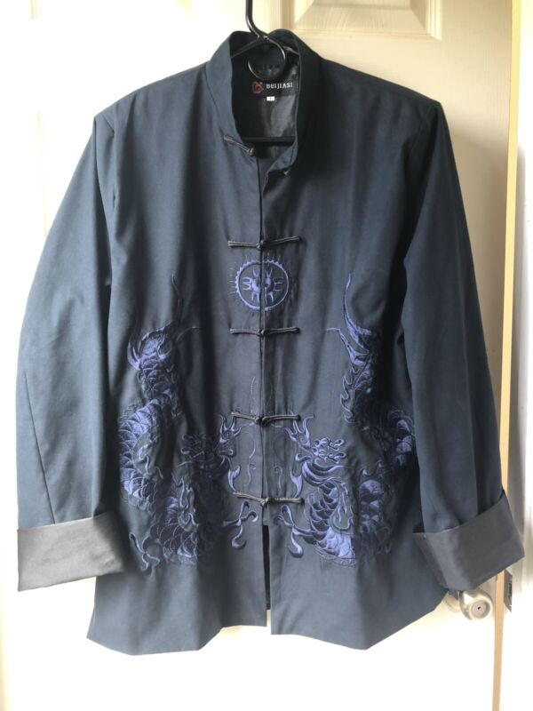 Beijiasi - Navy Blue Polyester Mandarin Jacket - Heavy Embroidered Dragons - L