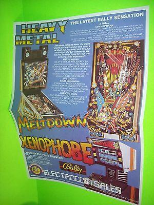 Bally HEAVY METAL Meltdown Xenophobe Pinball Machine Poster Flyer Electrocoin UK