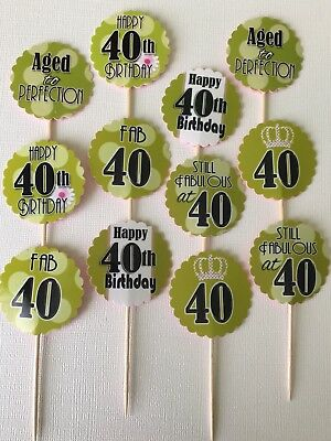 12 ct 40th Birthday Cupcake Topper Party Favors Party Table Decor Green theme (40 Birthday Themes)