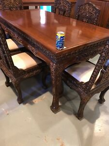 Teak hand  carved table 6 chairs(trail)