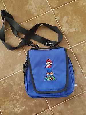 Super Mario Bros Carrying Case Pouch Bag Nintendo DS Zippered Blue Travel Case