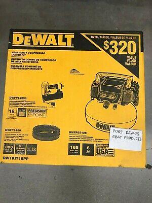 Dewalt Heavy Duty Nailer Kit (Brad Nailer 18 Gauge, Pancake Electric Air Compressor Heavy Duty 6Gal Tool Combo )