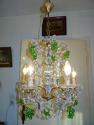 Ausgefallener Kronleuchter,Kandelaber mit Glastrauben.5-armig