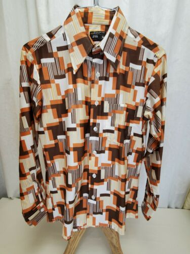 Vtg Polyester Disco Shirt Men