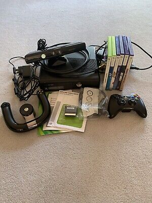 xbox 360 S Bundle With Kinect Sensor, 6 Games, 2 Various Wireless Controllers