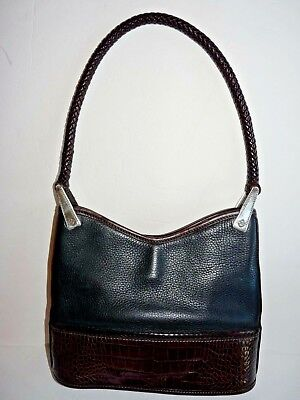 Brighton Leather Hobo Black Brown Croc Braided Handle