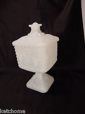 - Vintage Milk glass Four Panel Grape Leaf Covered Compote Dish 7 1/4