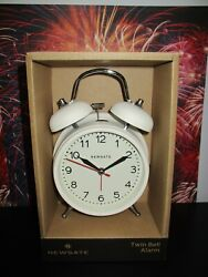 Twin Bell British Design Alarm Clock NEWGATE Metal Battery Op White Decor Travel
