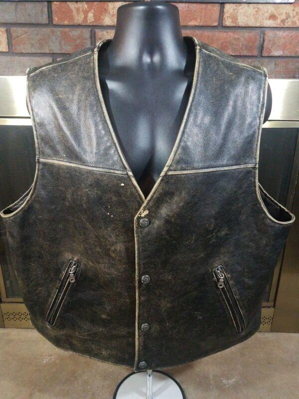 HARLEY-DAVIDSON Motorcycle Biker Distressed Snap Leather Lined Vest Mens SZ XXL