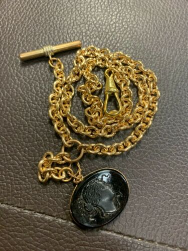 Vintage Pocket Watch Chain Gold Plated Clean Cool Piece!!
