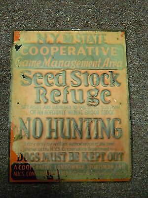 Rare Vintage Metal 1940's NY State Cooperative Hunting Sign