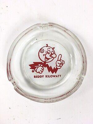 REDDY KILOWATT glass ashtray electric tobacco vintage cigarette advertising ash