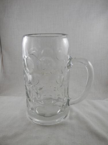 Vintage German Hofbrauhaus Munchen DImpled Glass  Stein Thumbprint mug 1 liter