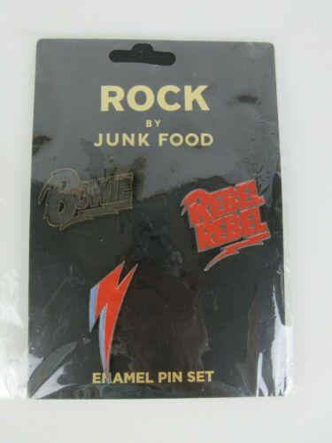 David Bowie Ziggy Stardust Rebel Rebel Rock Enamel Pins 3 Pin Set By Junk Food