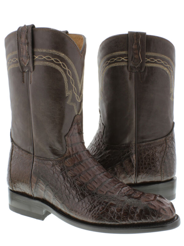 Mens, Brown, Genuine, Crocodile, Skin, Western, Leather, Cowboy, Boots, Head, Cut, Roper
