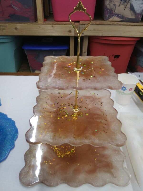 Resin 3 Tier Tray Desert Vanity Handmade New