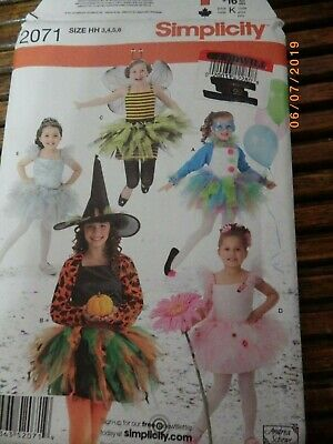 Child 3-6 Costume Witch Clown Bee Princess Ballerina Pattern Simplicity 2071 UC](Child Witch Costume)