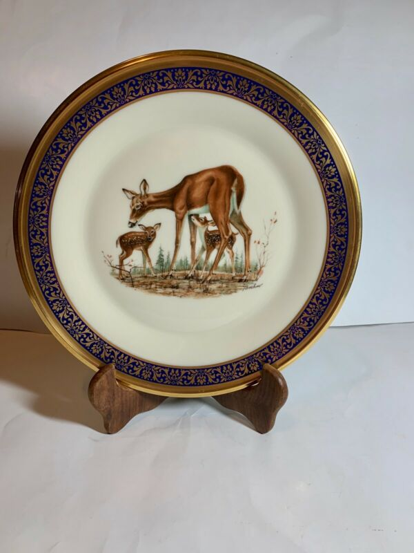 1978 Lenox Boehm Annual Ltd Woodland Wildlife Whitetail Deer Plate Cobalt & Gold