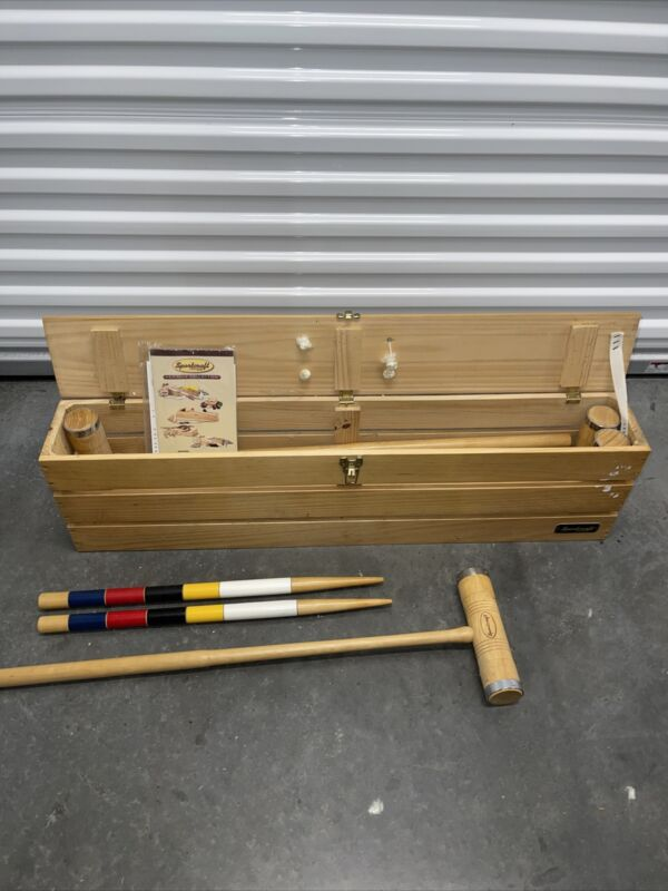 Vintage Sportcraft Heritage Croquet Set with Wooden Carrying Case Mint Complete
