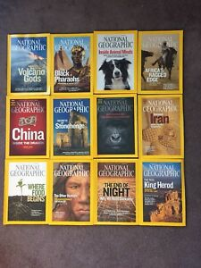 2008 12 issues of National Geographic Magazines