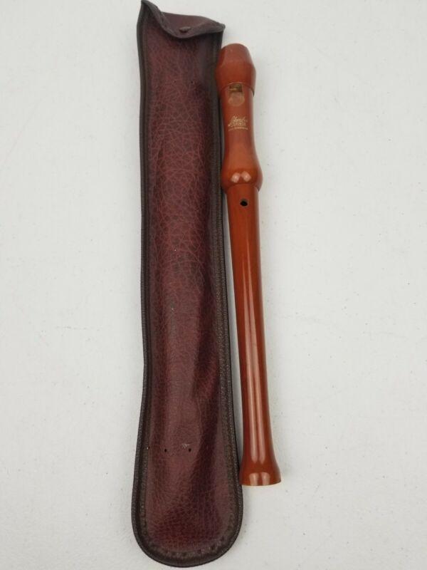 Vintage German Schreiber Sonata Brown Wood Recorder & Case