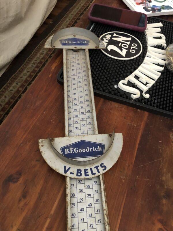 Vintage 1950s Metal BF GOODRICH V Belt Gauge Measuring Advertising Sign