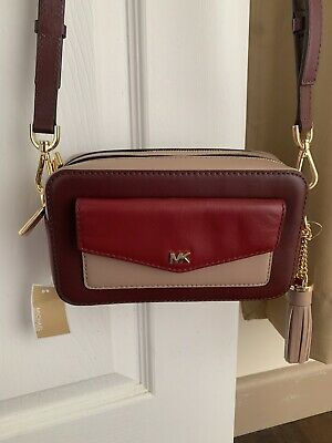 Michael Kors Small Crossbody Pocket Tricolour Camera Bag Red Bnwt
