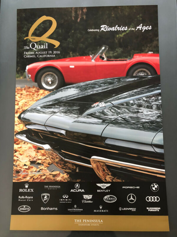 """Quail"" Monterey Shelby Cobra Corvette Poster 2016, Pebble Beach"