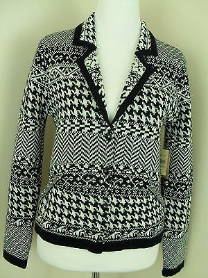 Coldwater Creek Sweater Jacket Size PS 6 8 Black and White Wool Blend NEW