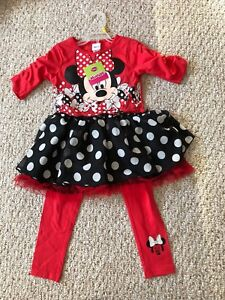 Girls size 6 Minnie Mouse dress with  leggings