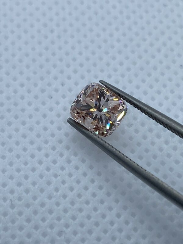 IGI 2.13 Carat VVS1 Cushion Cut Light Pink Color Lab Grown Diamond