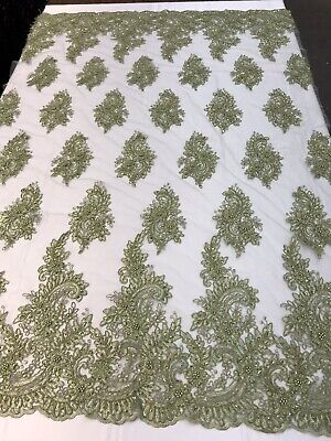 SAGE GREEN HAND BEADED DESIGN WITH EMBROIDER FLOWERS ON A MESH LACE-SOLD BY YARD Sage Green Lace