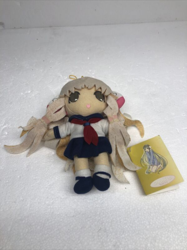 """Tags Chii in Sailor Uniform UFO Catcher 7.5"""" Plush Toy Chobits"""