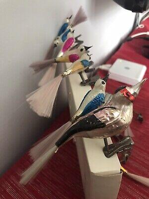 7 Vintage Glass Bird Christmas Baubles Fibre Tails + 4 Damaged