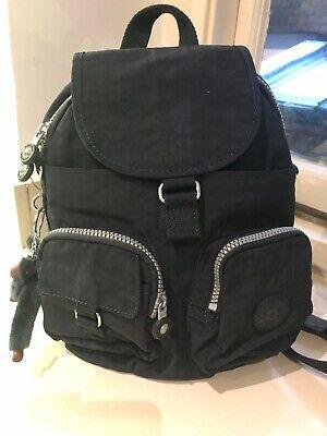 Genuine Kipling Firefly Small Black Backpack Convertible to Shoulder Bag+Monkey