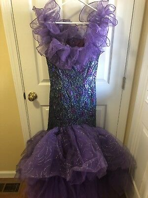 LORALIE 80's 90s Vintage Purple Lace Sequin Mermaid Prom Formal Dress Size - 80s Purple