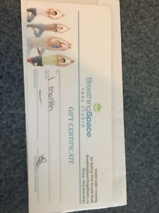 Breathing Space gift certificate
