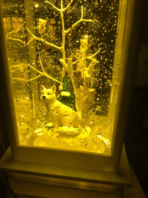 "Christmas Snow Globe Water globe SWIRLING Wolf Owls Tree Lantern Lighted 11"""