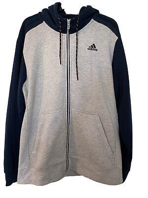 Grey And Blue Adidas Zip Hoody