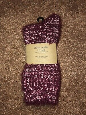 Womens Abercrombie & Fitch burgundy fuzzy lounge socks for sale  Shipping to India