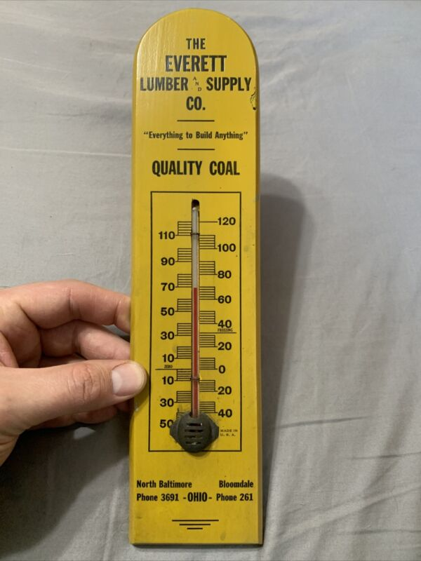 Vintage Everett Lumber & Coal Supply Ohio Early Wooden Working Thermometer Sign